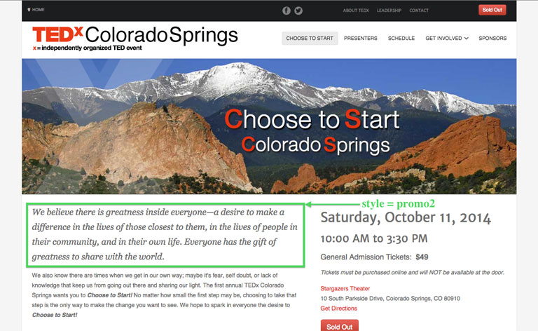 TEDx Colorado Springs home page with promo2 css highlighted