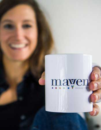 Traci Macnamara with Maven Design Studio coffee mug
