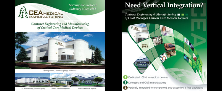 CEA Medical Manufacturing magazine ad and sales sheet