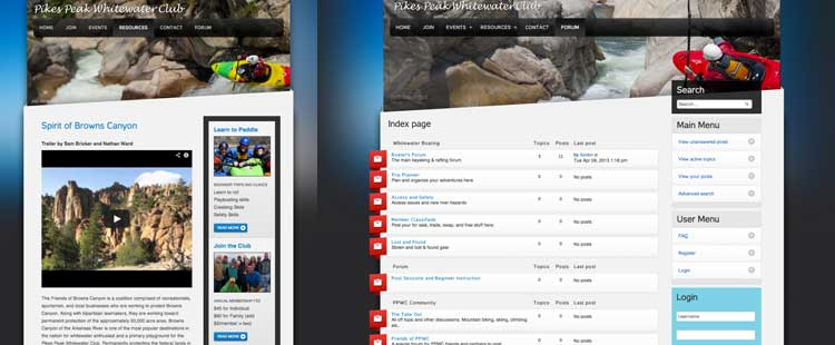 Side by side images of whitewater kayaking website, left side is mobile view, right side is desktop view