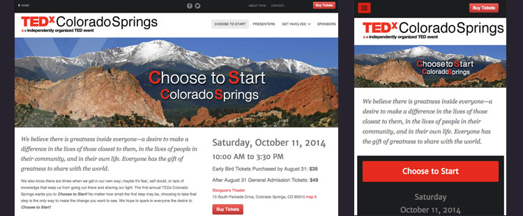 TEDx Colorado Springs 2014 website project homepage and mobile page